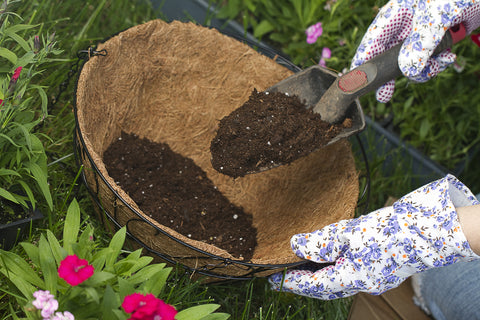 preparing soil in a pot for an herb garden