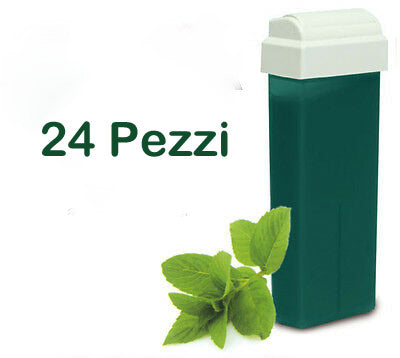 24 Ricariche Rullo 100 ml Cera Depilatoria Cartuccia Roll-on Ceretta Verde - Clorofilla - MIA PROFUMERIA