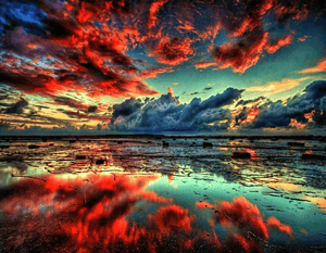 Paint By Number Landscape Cloudy Red
