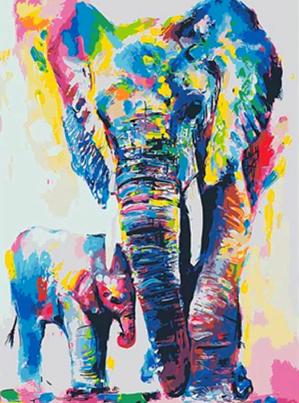 Paint by Numbers Kit Abstract Elephant