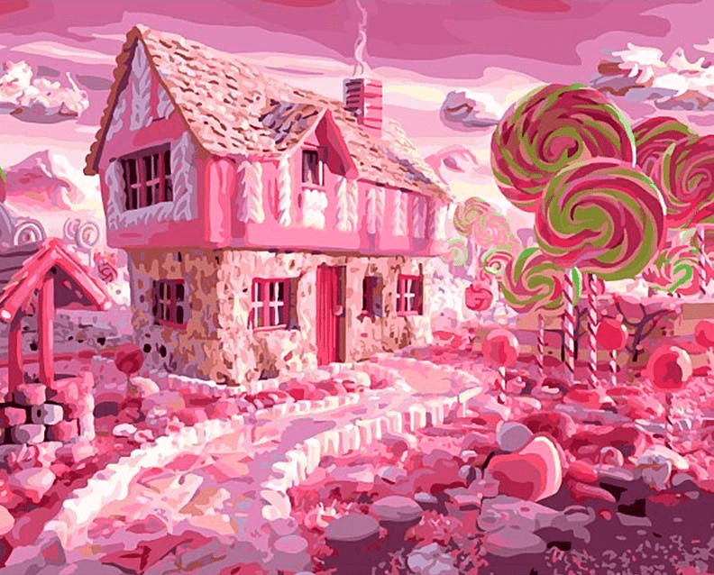 Paint By Number Kit Landscape Candy House - Just Paint by Number