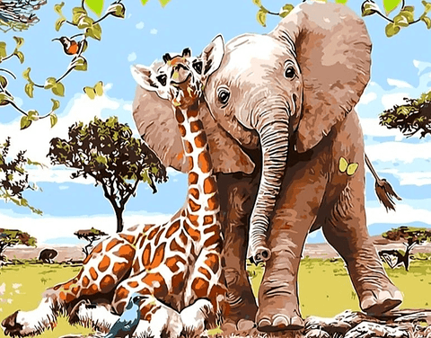 Elephant and Giraffe Paint By Number Kit