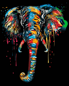 Modern Colorful Elephant Paint By Number Kit