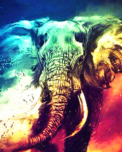 Paint by Numbers Kit Abstract Colorful Elephant