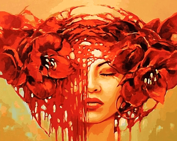 Abstract Woman Red Paint by Number Kit