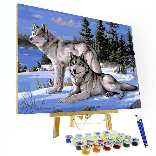 Paint by Number Kit Wolves