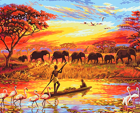 Natural Africa Scenery Paint By Number Kit