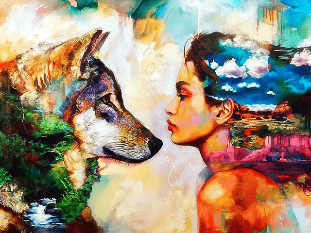 Paint by Numbers Kit Woman & Wolf - Just Paint by Number