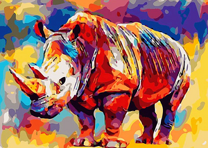 Paint by Numbers Kit Animal Colorful Rhino