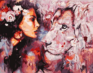 Paint by Numbers Kit Lion & Woman