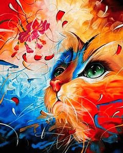 Paint by Numbers Kit Abstract Cat - Just Paint by Number
