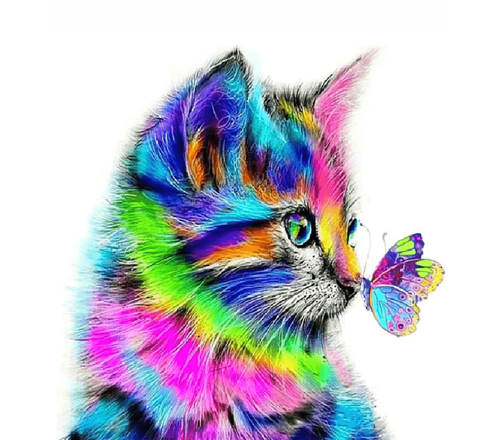 Cute Colorful Cat and Butterfly Paint By Number Kit