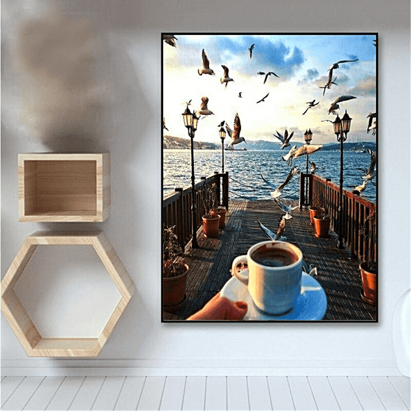 Bridge Landscape with Coffee Cup Scenery Paint By Number Kit