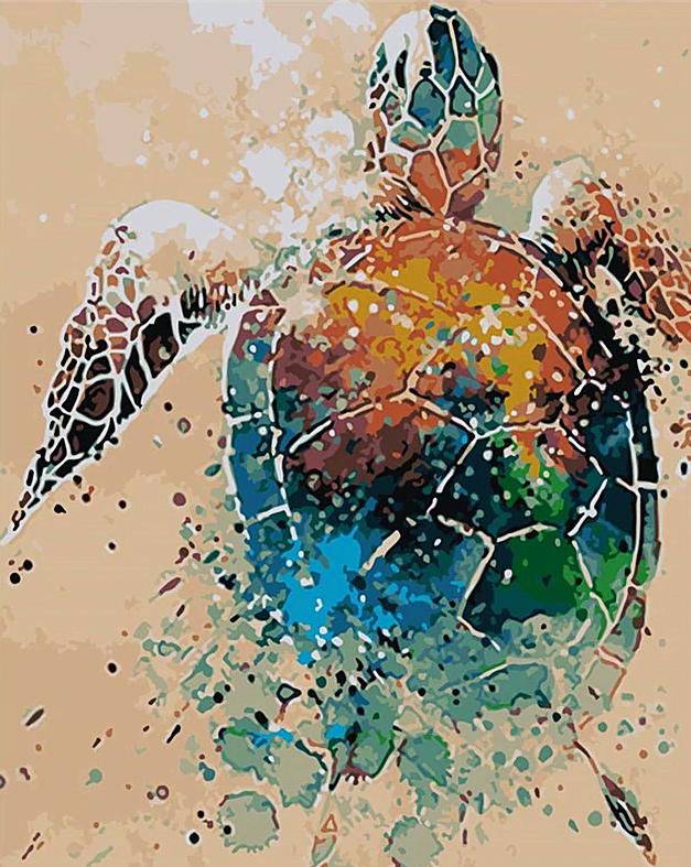 Paint by Numbers Abstract Turtle