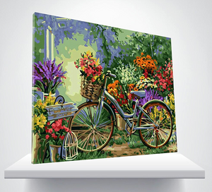 Paint by Numbers Kit Flowers Bicycle