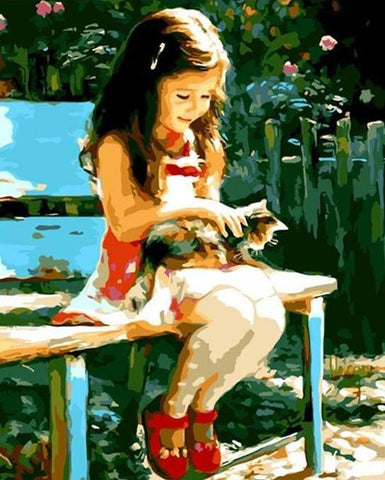 Cute Girl and Cat Paint by Numbers Kit - Just Paint by Number