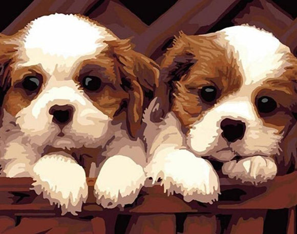 Two Puppies Paint by Numbers Kit - Just Paint by Number
