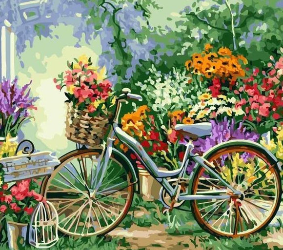 Bicycle and Flowers Paint by Number Kit