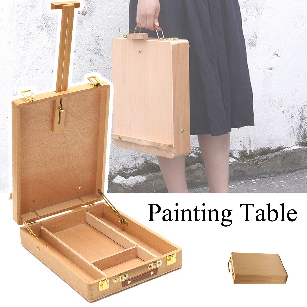 Portable Folding Wood Painting Table and Easel - Just Paint by Number