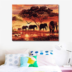 Elephants Sunset Landscape Paint by Numbers Kit - Just Paint by Number