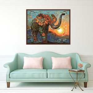 Vintage Abstract Elephant Paint by Numbers Kit - Just Paint by Number