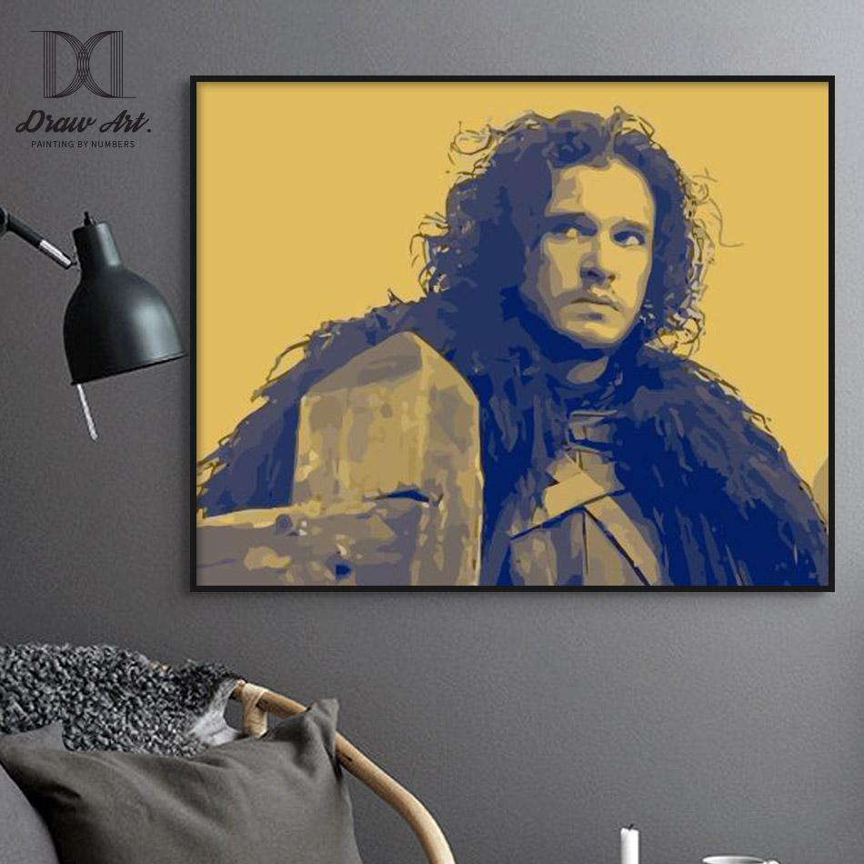 Jon Snow Two-Tone from Game of Thrones Paint by Numbers Kit - Just Paint by Number
