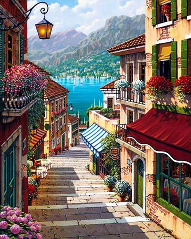 Scenery Street Landscape Paint By Number Kit