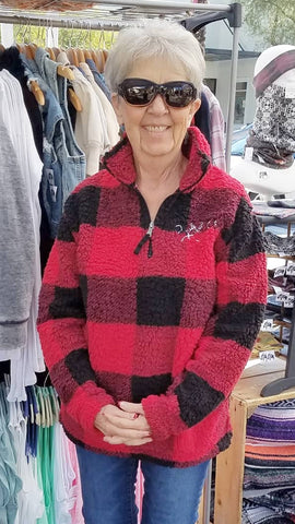 BGC Buffalo Plaid Sherpa Pullover