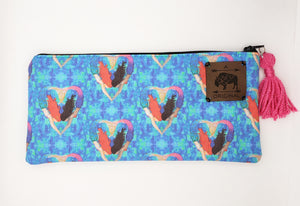 I Heart Mermaids Pencil Pouch with Pink Tassel
