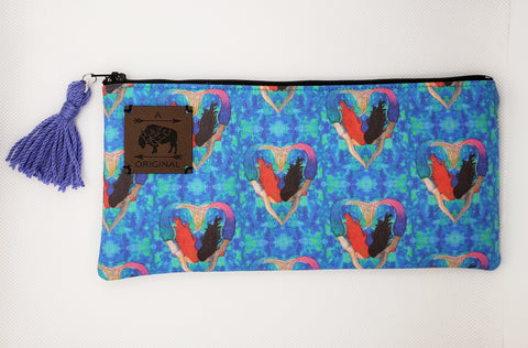 I Heart Mermaids Pencil Pouch with Periwinkle Tassel