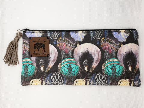 Great Gatsby Hot Air Balloons Pencil Pouch with Taupe Tassel