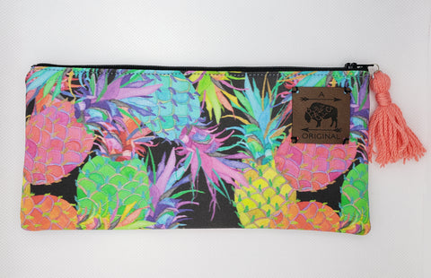How About Them Pineapples Pencil Pouch with Coral Tassel