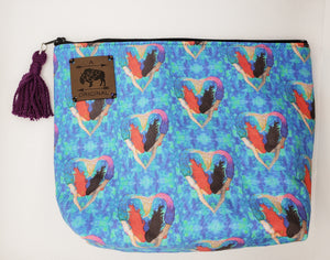 I Heart Mermaids Cosmetic Pouch with Purple Tassel