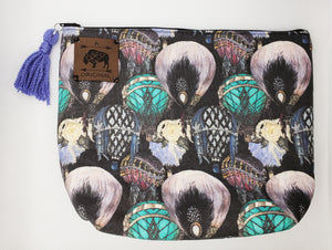Great Gatsby Hot Air Balloons Cosmetic Pouch with Periwinkle Tassel