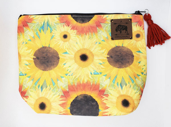 Sunflower Field Cosmetic Pouch with Red Tassel