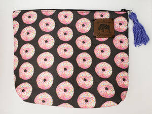 Pink Sprinkled Donut Cosmetic Pouch with PeriwinkleTassel