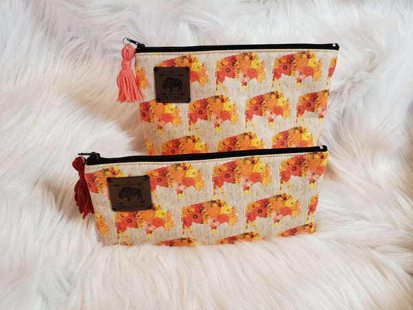 Sunset Poppy Pencil Pouch with Orange Tassel