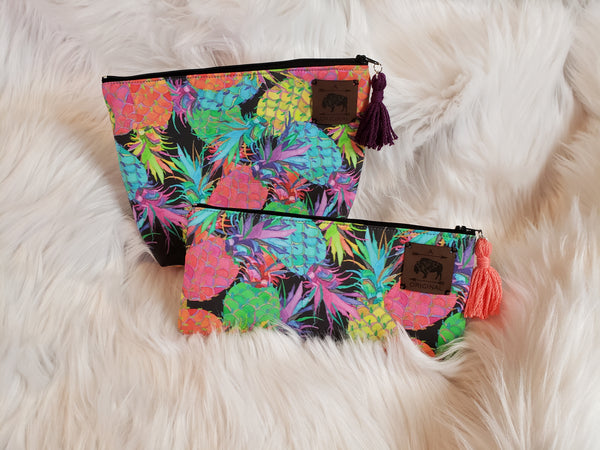 How About Them Pineapples Cosmetic Pouch with Purple Tassel