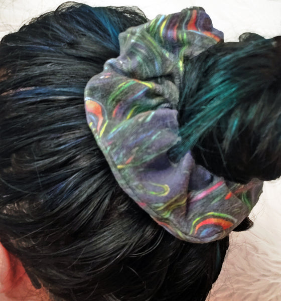Peacock Feathers Hair Scrunchie