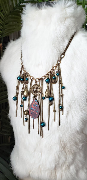 Peacock Tail Feathers Collar Necklace