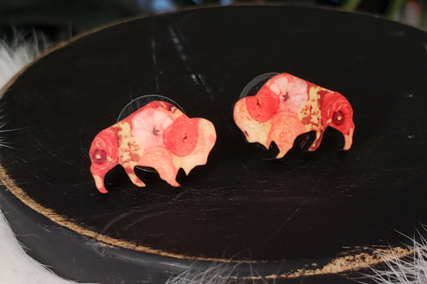 Sunset Poppy Buffalo/Bison Earrings