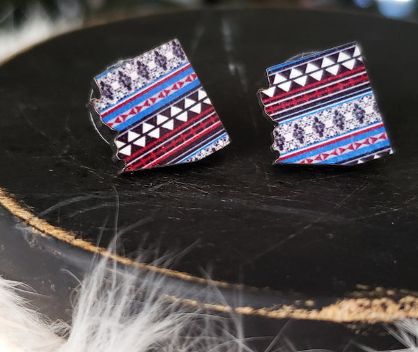 Maroon Aztec Arizona Earrings