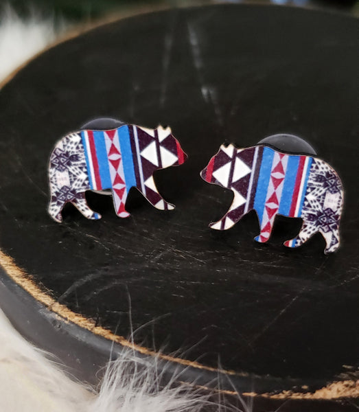 Maroon Aztec Bear Earrings