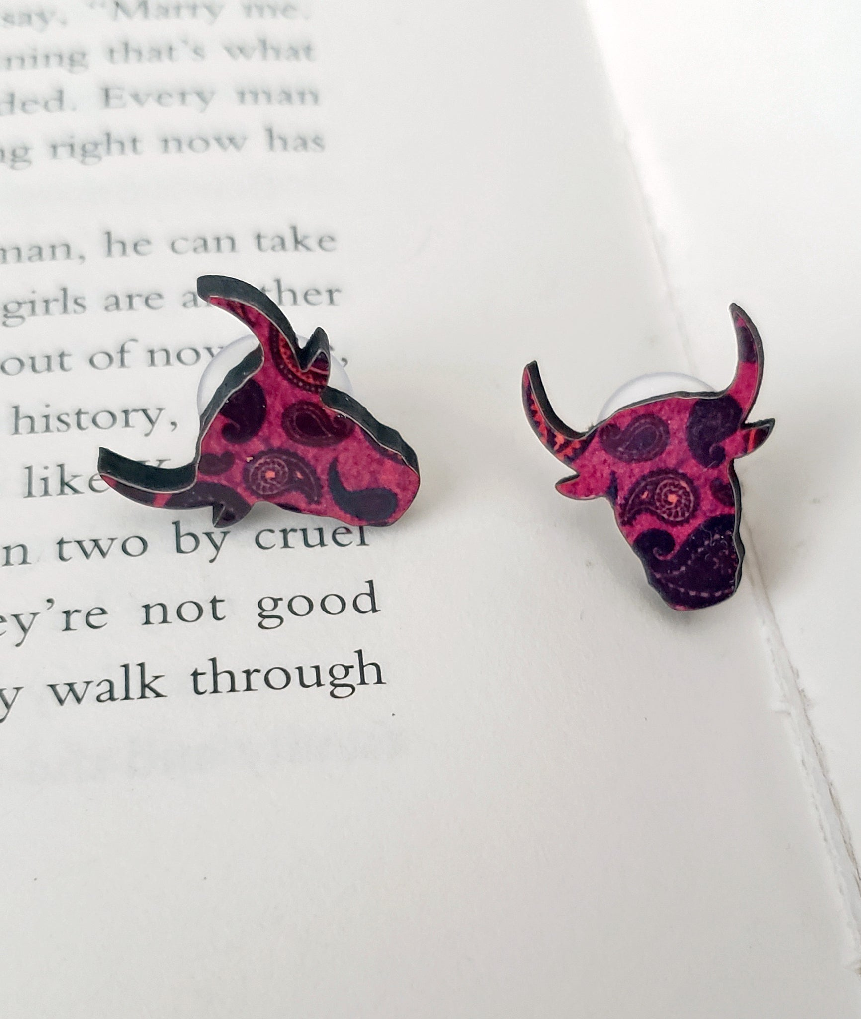 Hot Pink Paisley Bull Head Earrings