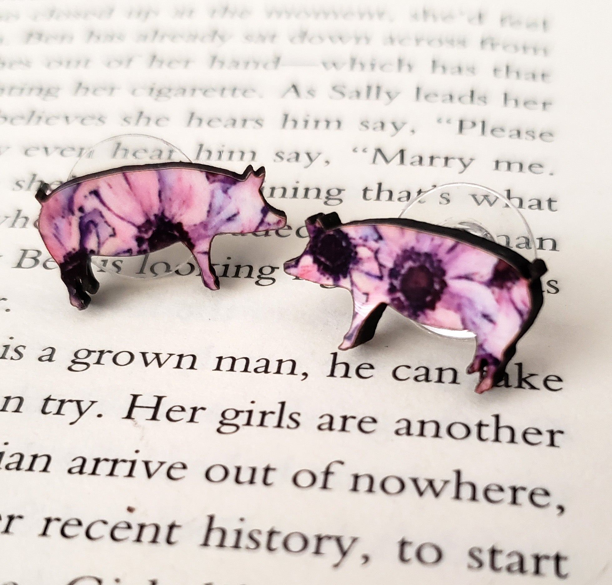 Purple Flower Pig Earrings