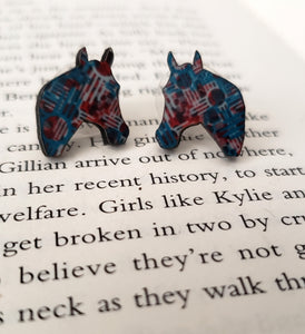 Zia Cross Horse Head Earrings