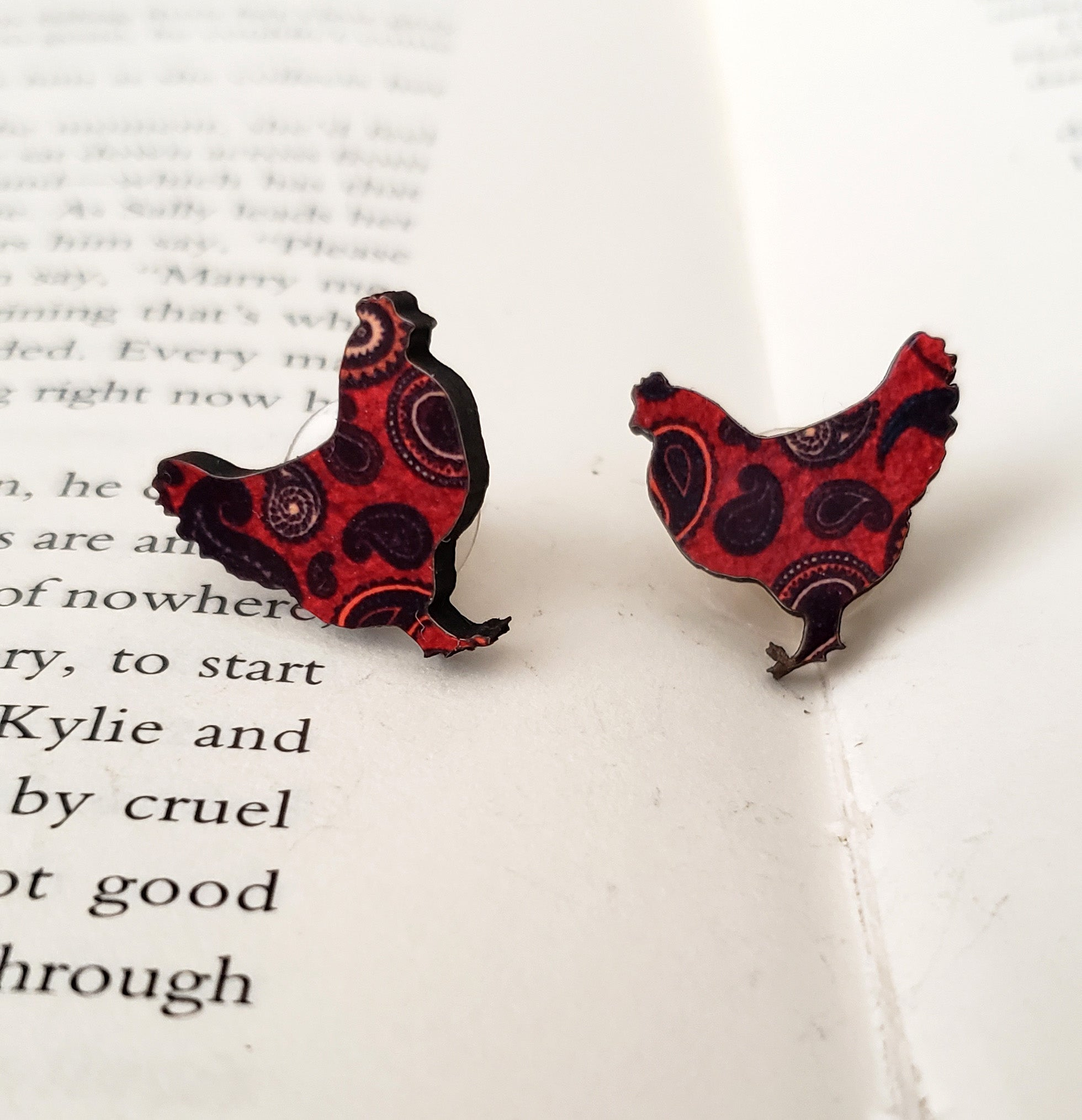 Paisley Chicken Earrings