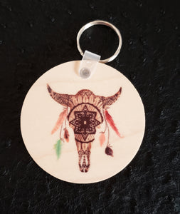 White Buffalo Mandala Round Wood Key Chain