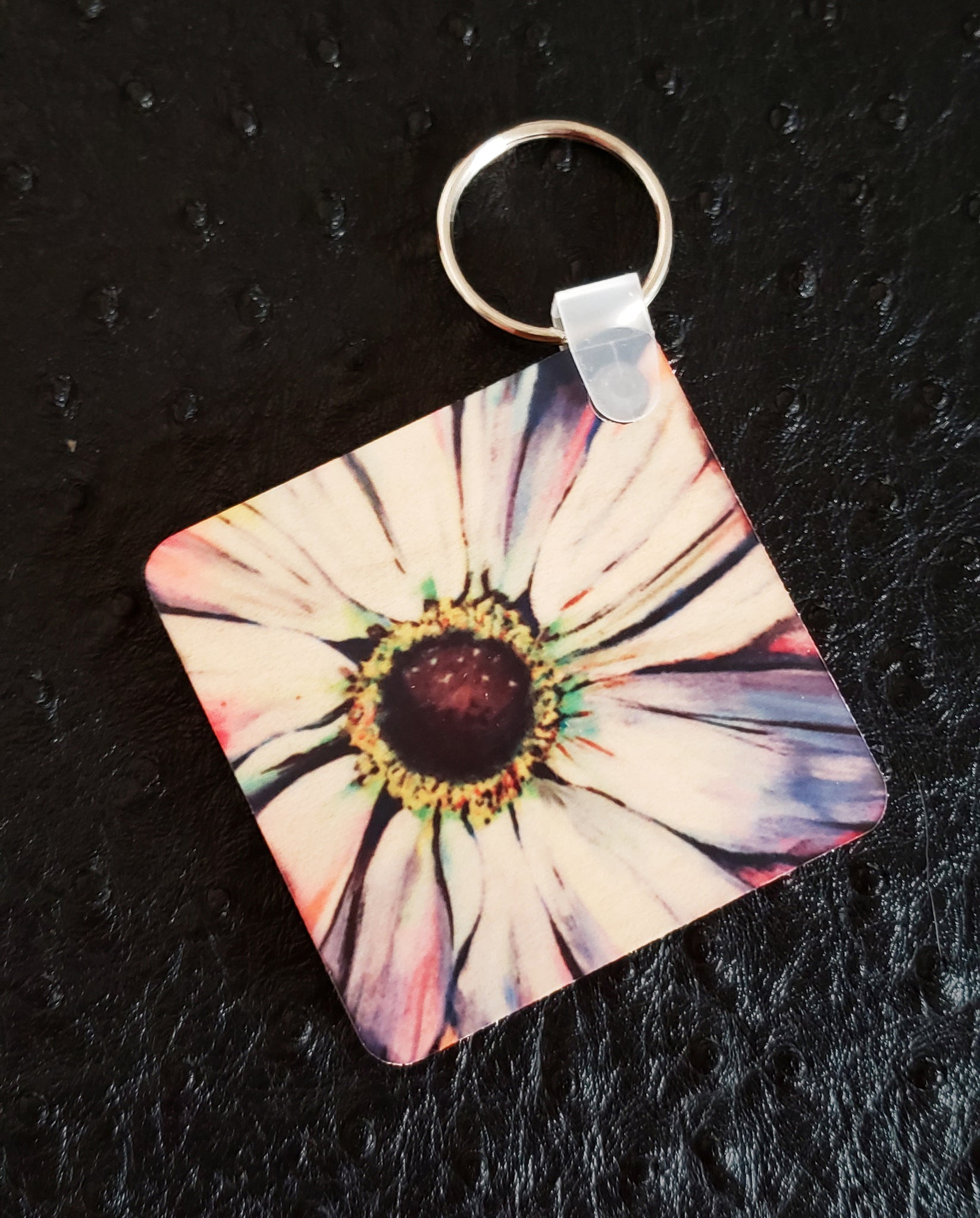 Rustic Daisy Square Wood Key Chain