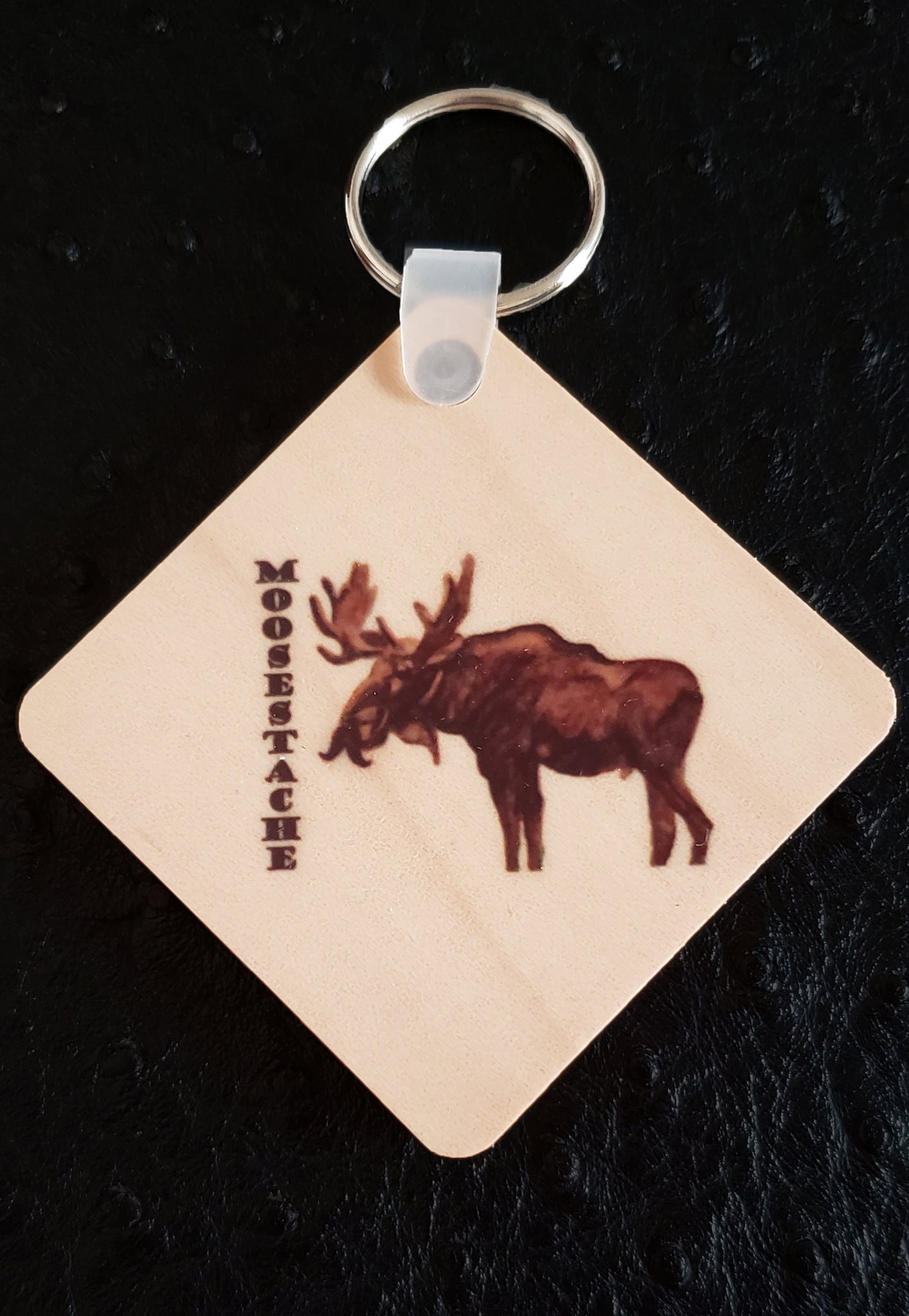 Moosestache Square Wood Key Chain